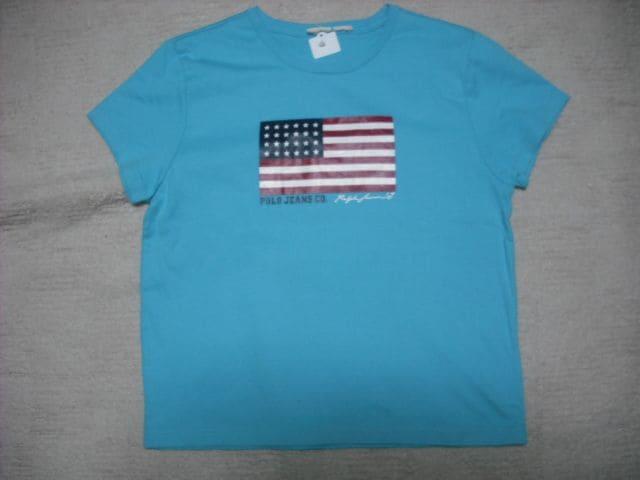 66 女 ラルフローレン 青 半袖Tシャツ M  < ブランドの