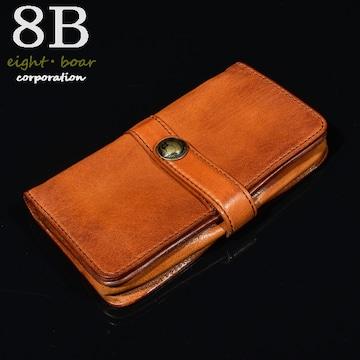 ◆牛本革 コンチョボタン 縦長財布 小銭入れ ウォレット◆茶b45
