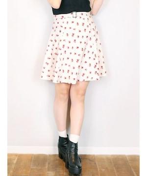 Dazzling ベルト付フラワープリントスカート ホワイト Mサイズ