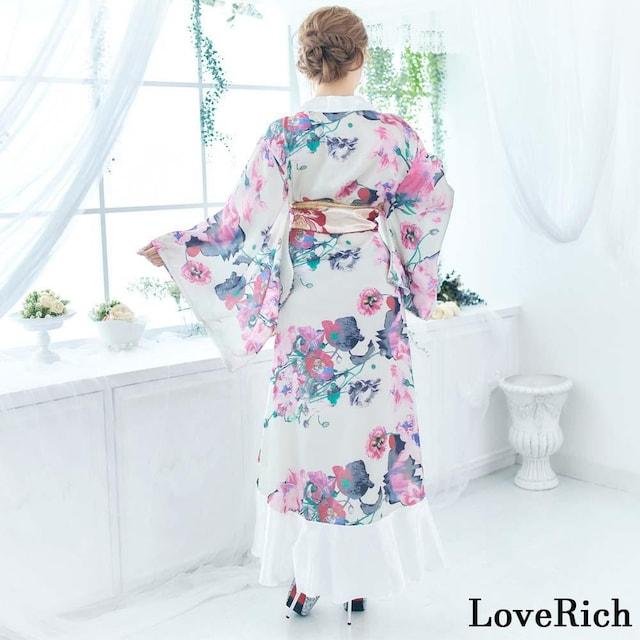 花柄フリル 豪華 花魁風 着物ドレス コスプレ イベント 衣装 < 女性ファッションの