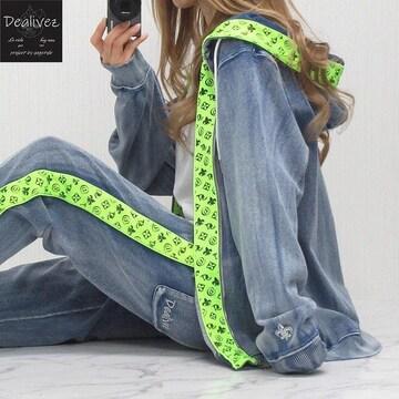 NEW最新XL【Dealivez】カットデニム/インサイドテープロゴ刺繍 ZIPパーカーsax