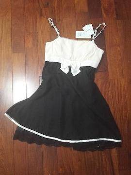 レッセパッセ白黒バイカラー姫リボンワンピース結婚式ドレス上品