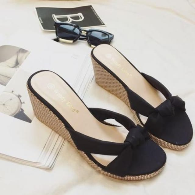 TA228即決 新品 ウェッジソール ミュール 黒 24.0 プールサイド R&E ザラ 好きに < 女性ファッションの