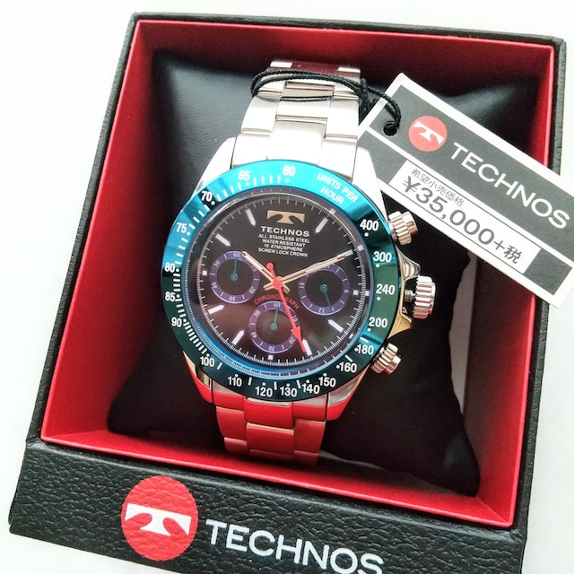TECNOS chronograph 24-hour meter MEN'S 腕時計 クロノグラフ 1/1秒