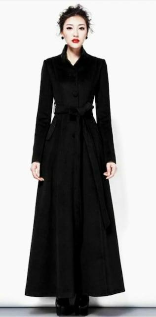 送料込 新品 マキシ丈超ロングチェスターコート BLACK XLサイズ < 女性ファッションの