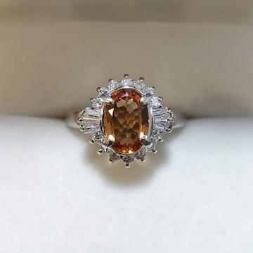 ダイヤモンド×インペリアルトパーズ リング Pt900 1.35ct 6.3g