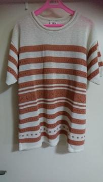 新品 貴重な日本製 リネン サマーニット ボーダー 半袖 麻 鍵編み
