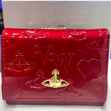ヴィヴィアンウエストウッド Vivienne赤 エナメル 三つ折り 財布
