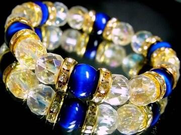 エメラルドブルータイガー§64面カットレンボー水晶10ミリ