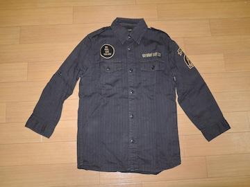 ヒステリックグラマー7分丈ミリタリーシャツS黒ワーク ワッペン