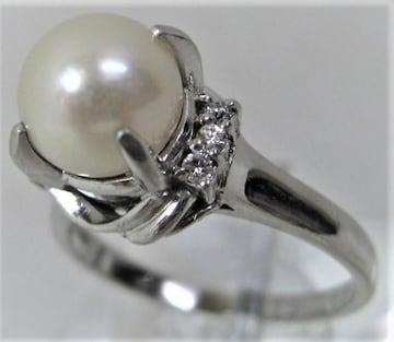 Pt900プラチナ リング指輪パール8.5mmアコヤ真珠 ダイヤ0.10ct