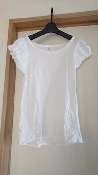 袖フリル★シンプル Tシャツ/ホワイト