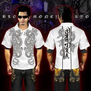 送料無料オラオラ系和柄半袖ポロシャツ/ヤンキーヤクザ メンナクホスト 服16009白-M