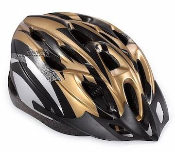 自転車用 サイクリング ヘルメット ゴールド&ブラック