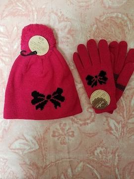 可愛いピンクのリボン柄ニット帽&手袋