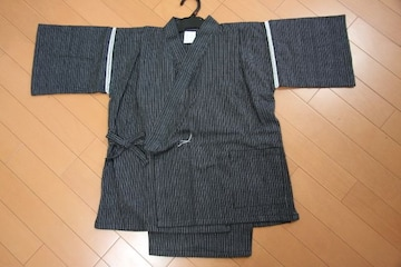 新品★子供用しじら織り甚平★男の子150(145〜155)cm黒新