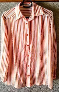 シャツ 鮮やか オレンジ 9号 ストライプ 洋服 レディース M