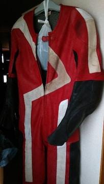 服送円レーシングスーツ赤/黒S-Mバイクツナギ上下160ライダースウェアスエード