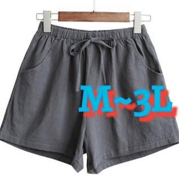 M~3L/新品☆麻綿リネン風ショーパン/グレー170