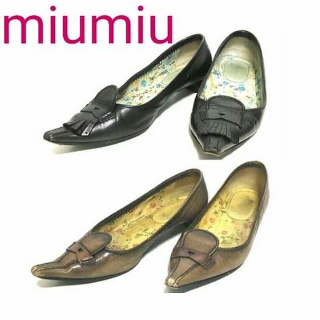正規 MIUMIU 2セット レザー パンプス サンダル 花柄 37 1/2  < ブランドの