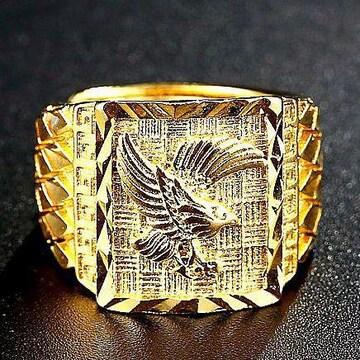 特A品 新品★送料無料★ 黄金の鷹 イーグル彫刻 ゴールドリング