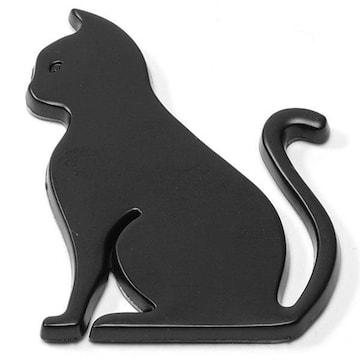 �溺 3D メタル素材 猫 車用ステッカー/ブラック