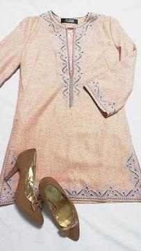 薄オレンジパープル刺繍ゴールドラメワンピースLauguage