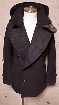 新品VADELバデル カシミヤ混紡メルトンウールフーデットPコート 46 D,Gray