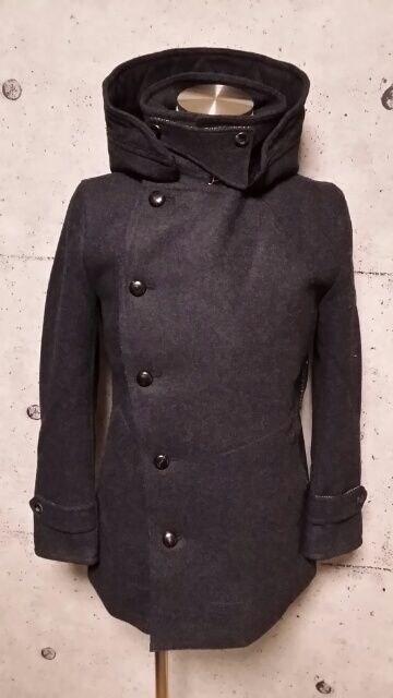 新品VADELバデル カシミヤ混紡メルトンウールフーデットPコート 46 D,Gray < 男性ファッションの
