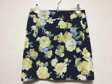 セシルマクビー 花柄 フラワー 台形 ミニスカート 紺 ネイビー