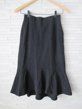 ユニクロ/ウエストゴム/ペプラムストレッチロングスカート/黒/S