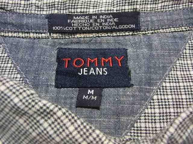 即決USA古着●トミージーンズ●チェックデザイン半袖シャツ!トミーヒルフィガー・アメカジ < ブランドの