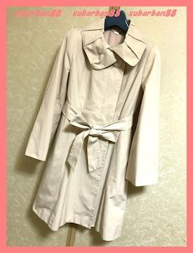 ☆エフデ☆超美品♪大人カワイイギャザー襟リボンフレアコート7