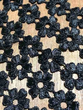 80個連〈ぷっくりフラワー〉ブラックフラワーケミカルレース(1m90cm)