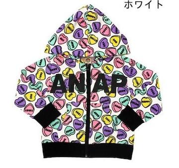 新品ANAPKIDS☆130 ハート柄 ロゴ ジップパーカー アナップキッズ