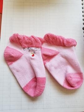 ピンクにうさぎのワンポイントの靴下9~12