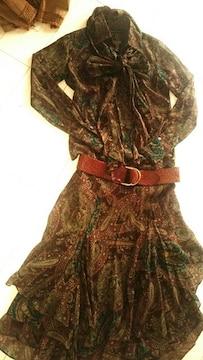 ラルフローレン■RALPH LAUREN■スカート&ブラウス豪華総シルク絹ストール付パネルモデル着