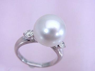 大粒 12.8mm 南洋白蝶真珠 0.50ct ダイヤモンド リング 新品同様★dot