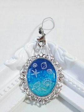 ☆夏の新作☆ヒトデや貝の海の青と水色のストラップ  レジン