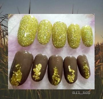 ジェルネイルチップ☆付け爪~フラッシュゴールド×ブラウン