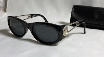 正規美 VERSACEヴェルサーチ メデューサアイコン装飾ピンフレーム サングラス黒×シルバー
