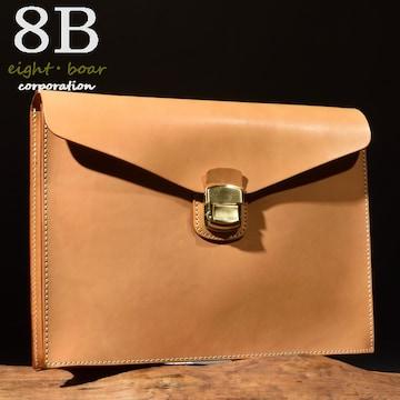 ◆牛本革コードバン調 ロック式 クラッチ セカンドバッグ◆茶b11
