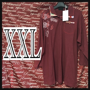 XXL(3L)・和柄龍二枚襟七分ポロ新品/MCU-006