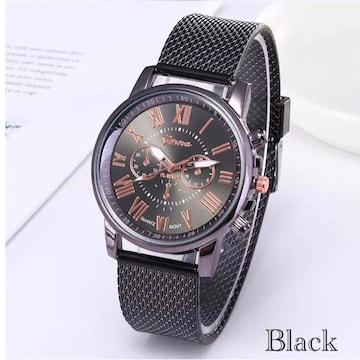 腕時計 時計 ギリシャ文字 ステンレス メッシュ ブラック