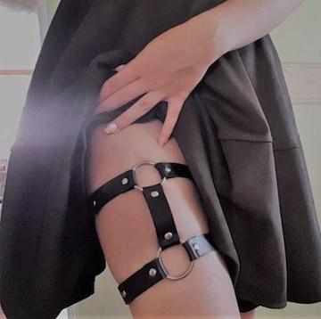 新品[7312](1本)黒合皮レザー★ダブルガーターベルト/ボディハーネス