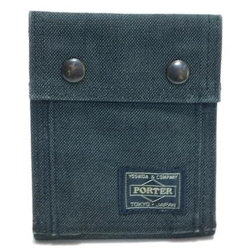 PORTERポーター 二つ折り財布 キャンバス 黒 良品 正規品