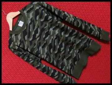 迷彩カモフラジャガードニットセーター/KHAKIカモ/XL 特価