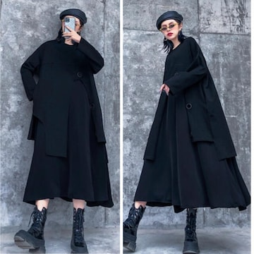 ロング丈ワンピース 重ね着風 フレアスカート ブラック 長袖