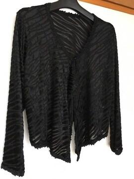 エアコンの寒さ対策に!N2m 黒 カーディガン 長袖 フリーサイズ