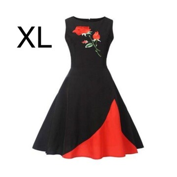 新品☆裾綺麗♪胸元バラ刺繍 綺麗ワンピース XL